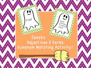 FREE The students will be able to learn new vocabulary words by matching common adjectives and verbs used to their synonym. Great for a morning meeting activity or to do before a writing assignment! http://www.teacherspayteachers.com/Product/Spooky-Adjectives-Verbs-Synonym-Matching-Activity-939955