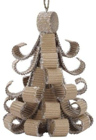 "Amazon.com: Pack of 6 Natural Effects Corrugated Cardboard Christmas Tree Ornaments 5"": Home & Kitchen"