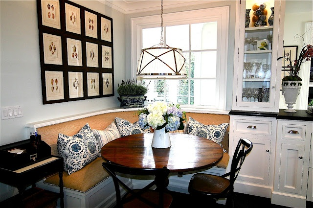 breakfast area with banquet....love the artwork over it...from classiccasualhome.com