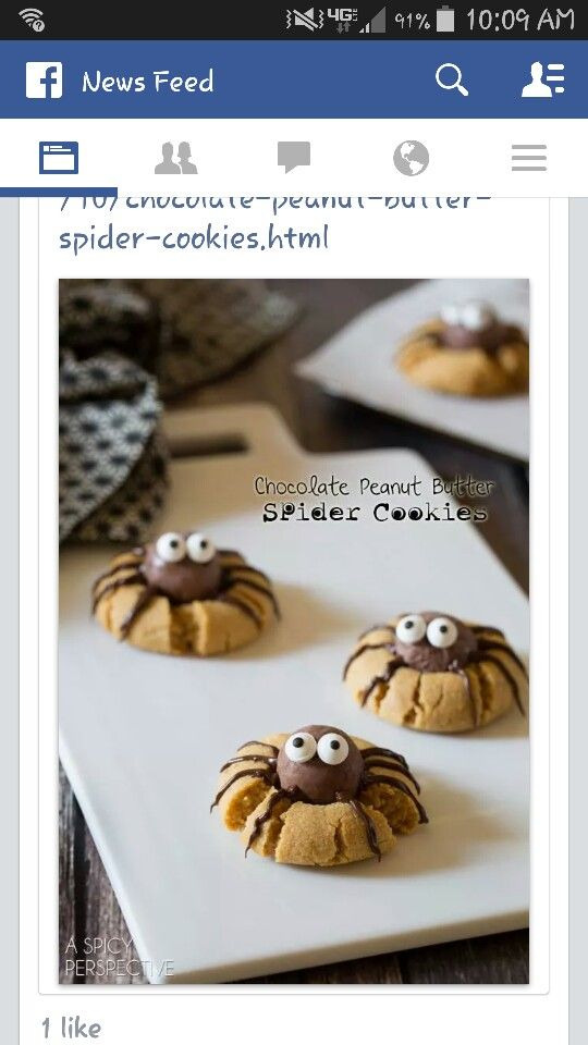 Peanut butter and chocolate spider cookies