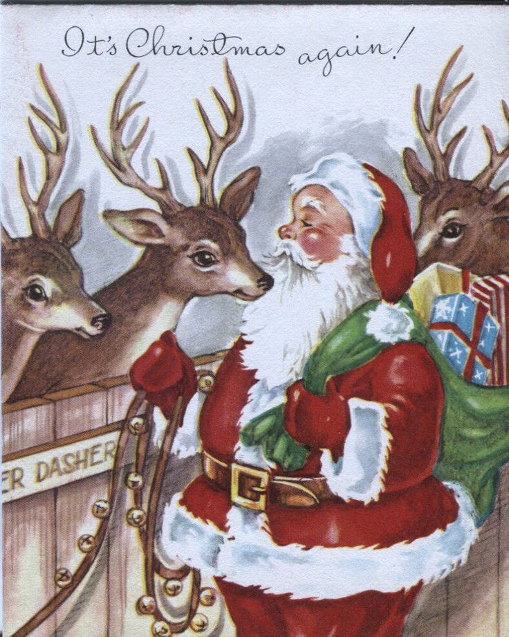 Best vintage christmas cards images on pinterest