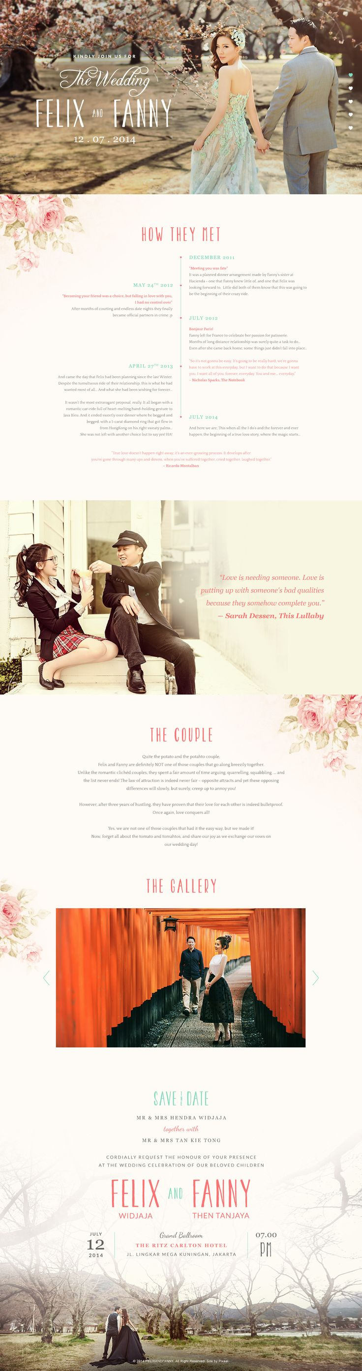 Web design and development for Felix and Fanny wedding in Jakarta, Indonesia
