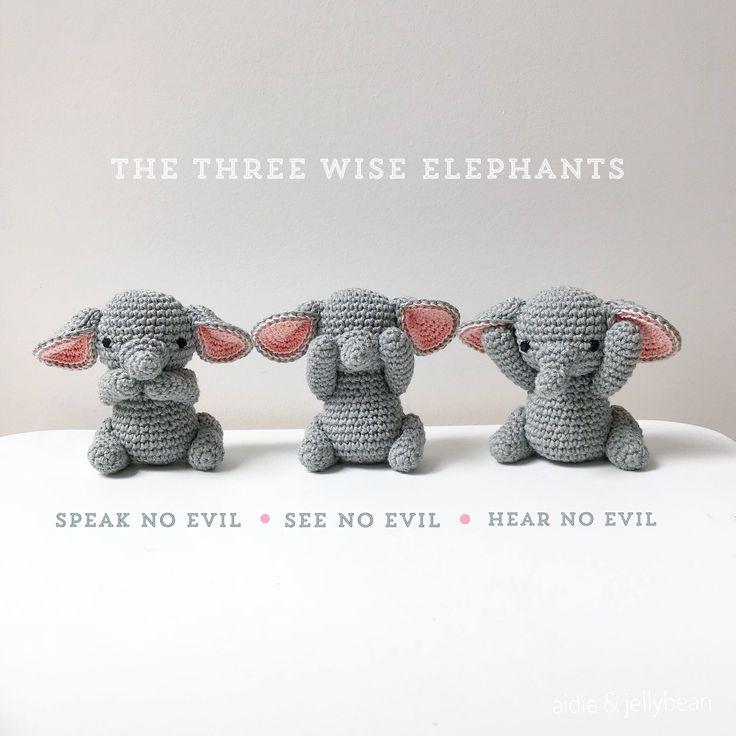 Hermosa Elefante Patrón De Crochet Sombrero Bosquejo - Manta de ...