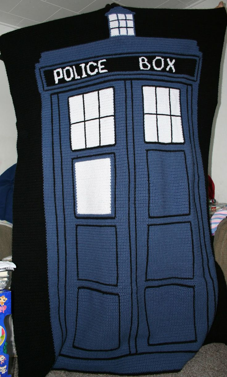 Crochet Tardis blanket @Jessica Vortherms McBee   a present for Bryan? I wonder how long it would take to do...probably not by Christmas though