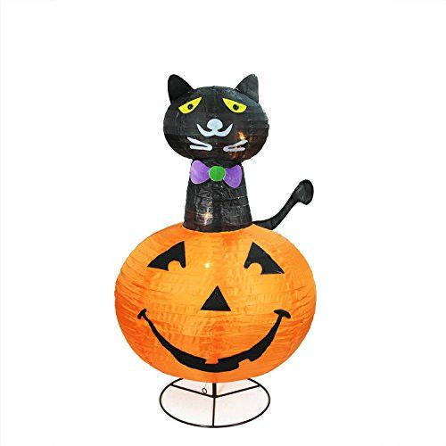 Felices Pascuas Collection 36 inch Pre-Lit Orange and Black Cat on a Pumpkin Halloween Yard Art Decoration