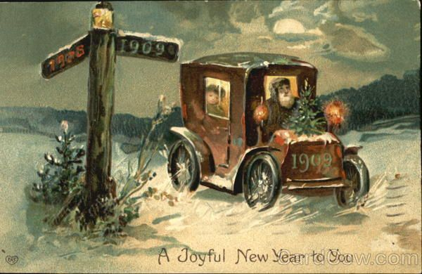 Postmark/Cancel:1908 Dec-31 Minneapolis, MN A Joyful New Year To You Father Time