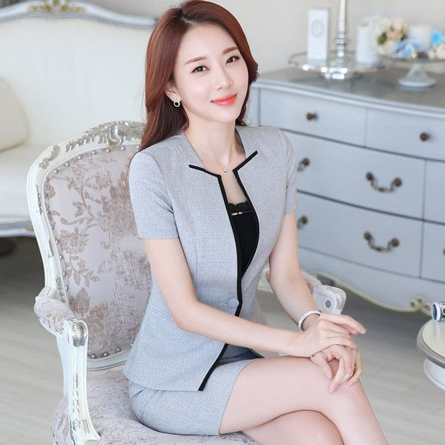 Summer slim work wear women's skirt suit formal ladies office wear plus size suit tooling Patchwork Decoration blazer with skirt