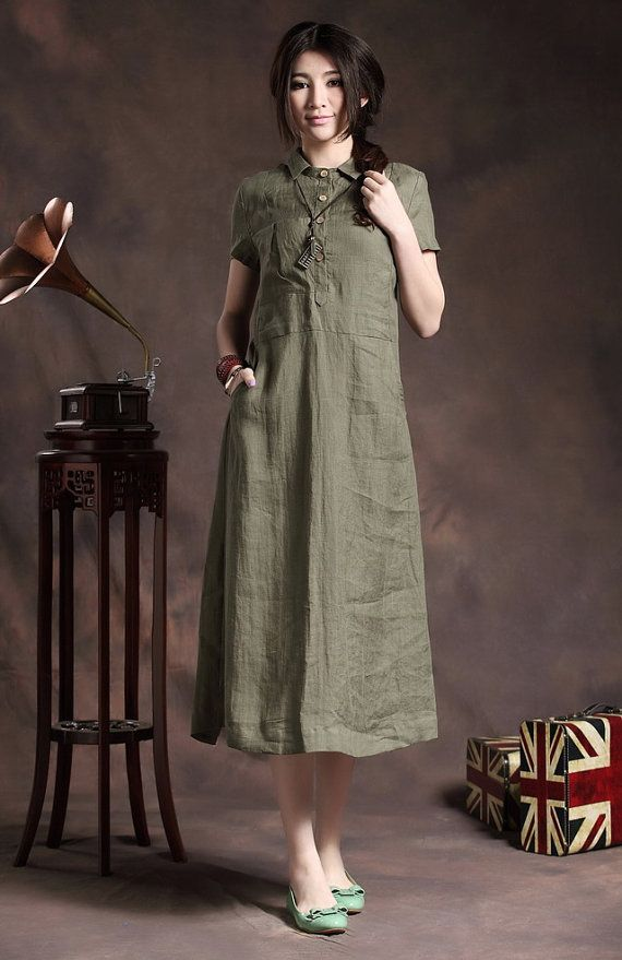 Long Tunic Dress in Green / Linen Shirt Dress  by camelliatune, $76.00