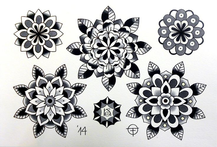 traditional tattoo flower black - Google Search