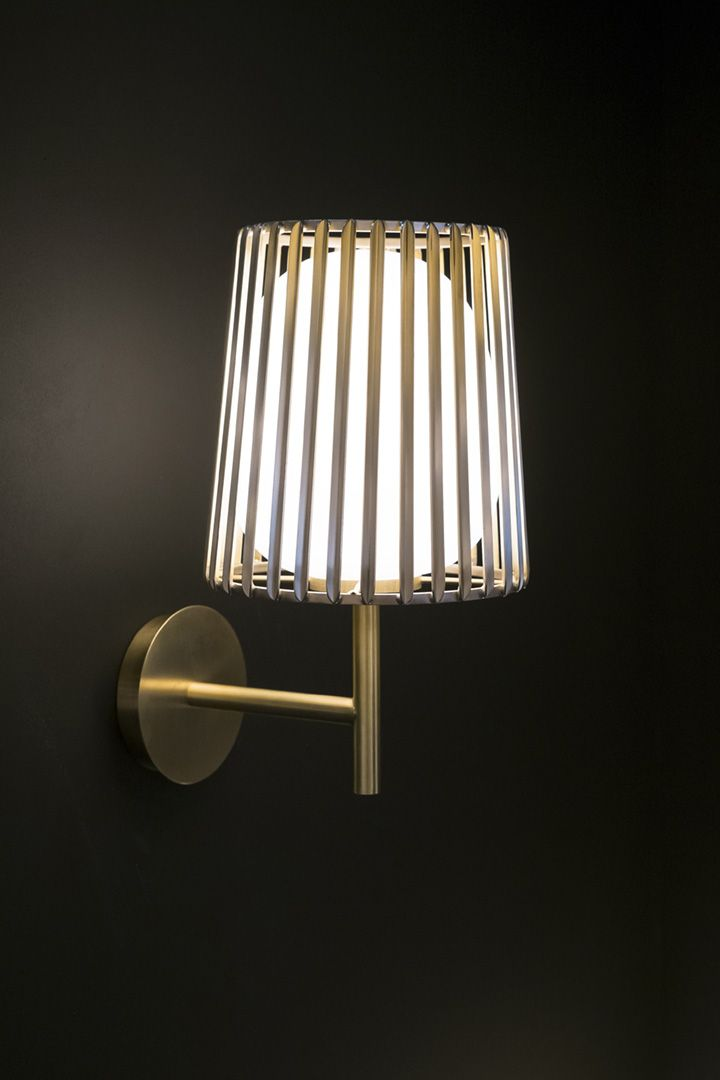 Julia wall lamp for quasar holland made of brass and white glass by daniel becker design