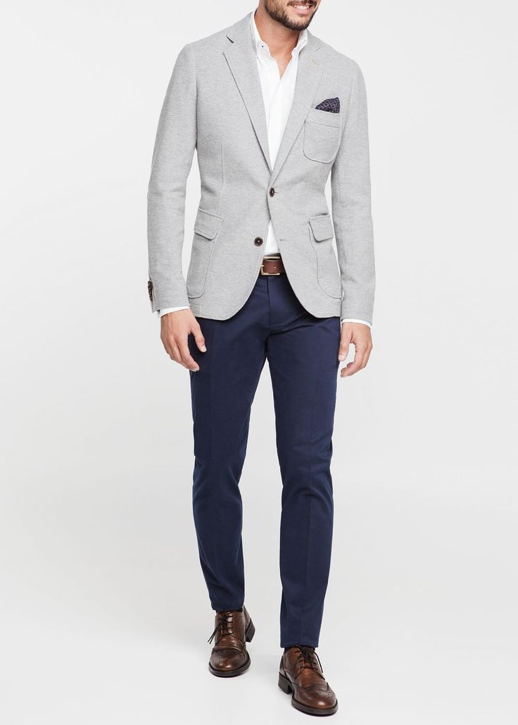 Mango Cotton Pique Blazer in Gray for Men (Light Grey) | Lyst
