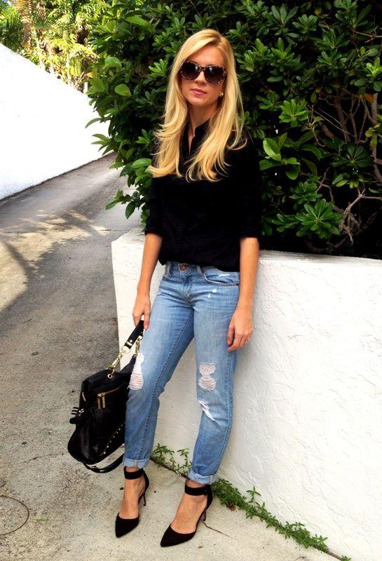 boyfriend jeans + black tee + heels