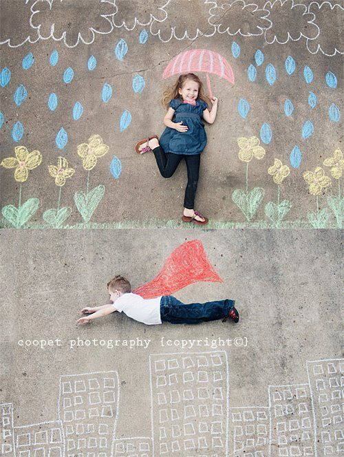 what a fun idea for a photoshoot with your kids-- just get out some sidewalk chalk