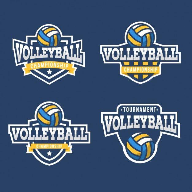 Colección de escudos de voleibol. Fondo azul.