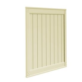Freedom Emblem White Vinyl Privacy Vinyl Fence Gate (Common: 6-Ft X 5-