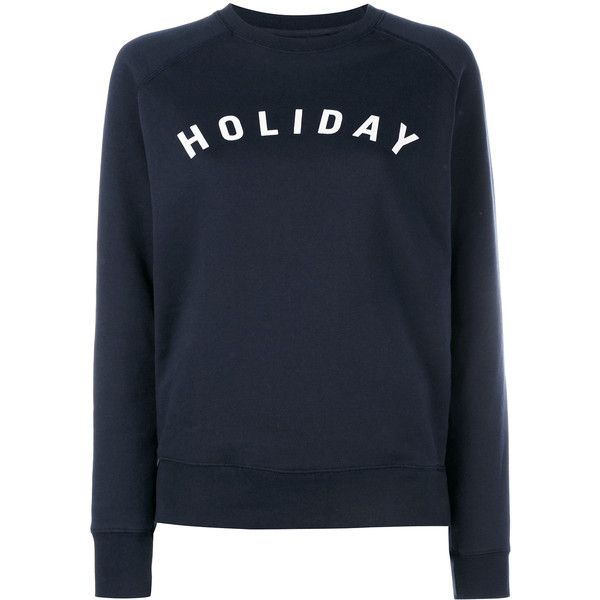 Holiday Logo Printed Cotton Sweatshirt ($98) ❤ liked on Polyvore featuring tops, hoodies, sweatshirts, sweaters, blue, blue top, blue sweatshirt, blue crew neck sweatshirt, logo sweatshirts and raglan sleeve sweatshirt