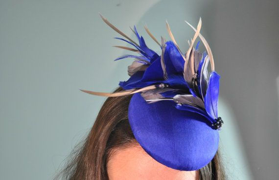 Royal Blue Fascinator / Cocktail Hat with Royal Blue and Grey Feather Mount