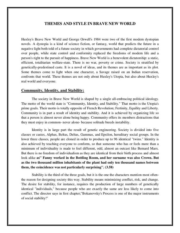 brave new world essay topics
