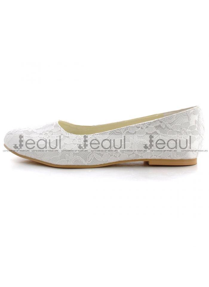 Platte kant satijn bruidsschoenen handgemaakte custom platte trouwschoenen witte schoenen singles