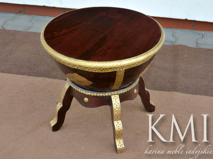 "meble orientalne | indyjski stolik ""Drum Table"""
