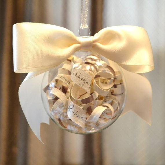 Clear baubles as event keepsakes: Christmas Ornaments Custom, Births Announcements, Babies First Christmas, Etsy, Day Wedding, Baby First Christmas, Christmas Wedding, Big Bows, Christmas Gifts