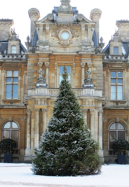 Christmas tree in front of the main entrance to Waddesdon Manor By John of Witney at flickr