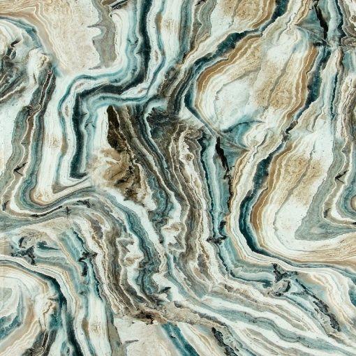 Percale, Sand/Grau/Blau Granitmuster