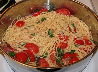 Capellini Al Fresco...we cook the pasta part way, then toss it in chicken broth and finish cooking.