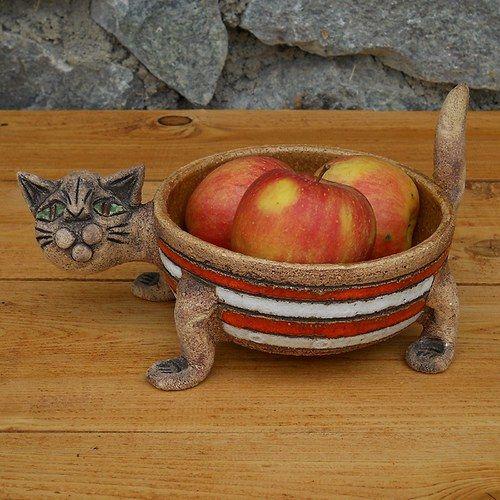 Miska kočka červenobílá