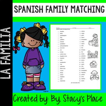 Spanish Family Matching Worksheet practicing essential family vocabulary.