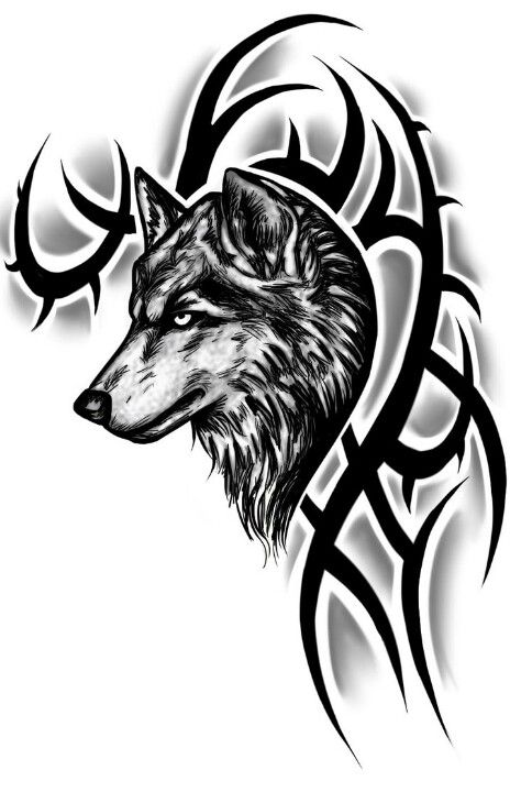 Wolf tattoo, tribal. Want this!!!
