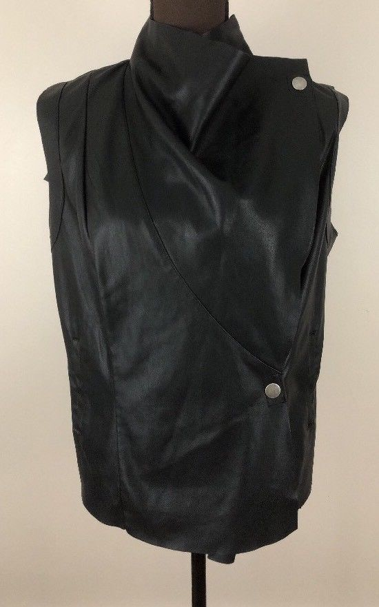 cc271b5ddd4be5 Kut from the Kloth Vest Drape Front Faux LEATHER Asymmetrical BLACK SZ  LARGE  fashion  clothing  shoes  accessories  womensclothing   coatsjacketsvests (ebay ...