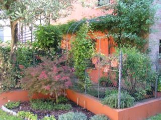 """giardino da Guinness:A Codroipo, un signore molto in """"gamba"""" e appassionato di giardinaggio ha ristrutturato una vecchia casa e l'ha impreziosita con un piccolo giardino. La superficie del giardino sará piú o meno di 9/12 m2, in questo spazio molto ridotto il proprietario ha """"creato"""" un gioiello di giardino. vista globale"""