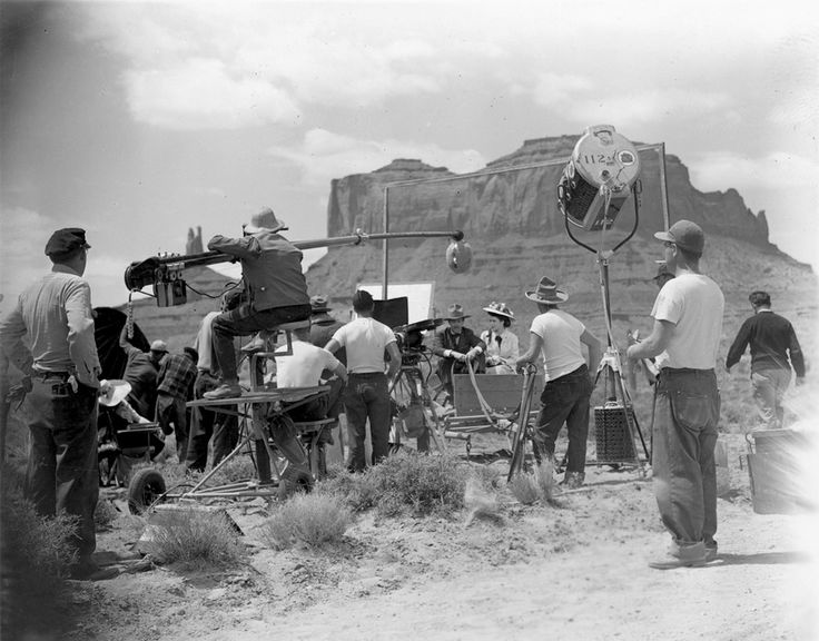 "Hot, dusty, slow, and sun beaten, but the iconic mystique of shooting a Hollywood movie inheres as John Ford directs Henry Fonda in ""My Darling Clementine"" (1946) in Monument Valley."