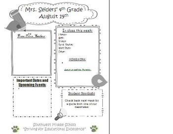 Use this cute Parent Newsletter Template to engage parents in what's happening in your class each week. There is a spot for you to share comments, what's being covered in class, important dates and upcoming events, and a spot for a student highlight. Template is a word document so can be edited.