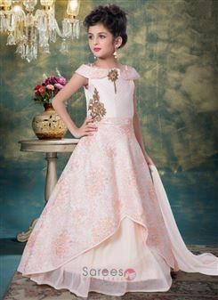 8c17ca35b62c6 Pink Silk Party Wear Embroidery Work Kids Gown Wholesale Collection Online  Shopping.