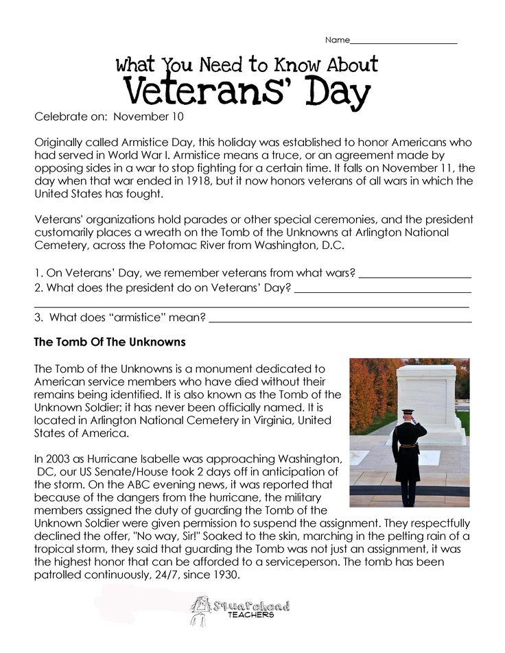 veterans day worksheets | Veterans' Day Worksheet