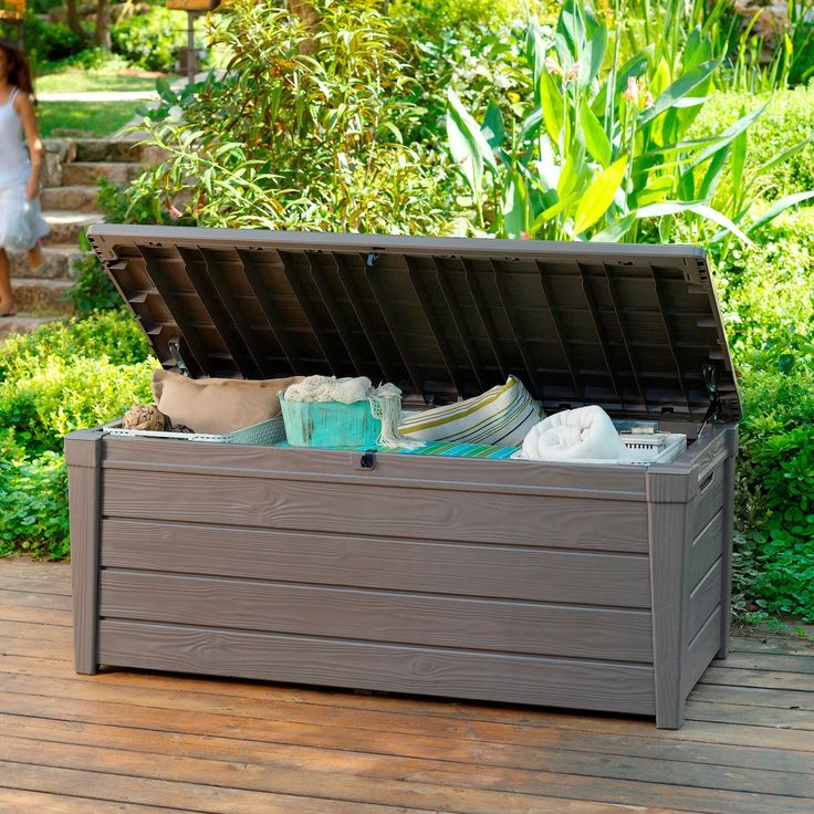 Keter Brightwood Resin 120-Gallon Outdoor Storage Deck Box - Outdoor Benches at Hayneedle