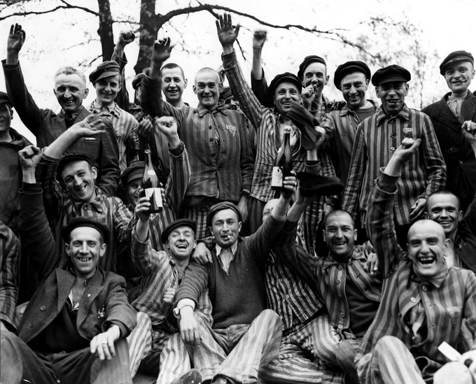 Taken in Buchenwald just after its liberation by the incredible photographer Margaret Bourke-White, this image is so powerful not just because it shows the pure joy of liberation, but because it turns these men who we have almost turned into mythic creatures into normal folks. The kind that celebrate with champaign and cigarettes. I hope they're still celebrating, wherever they are.