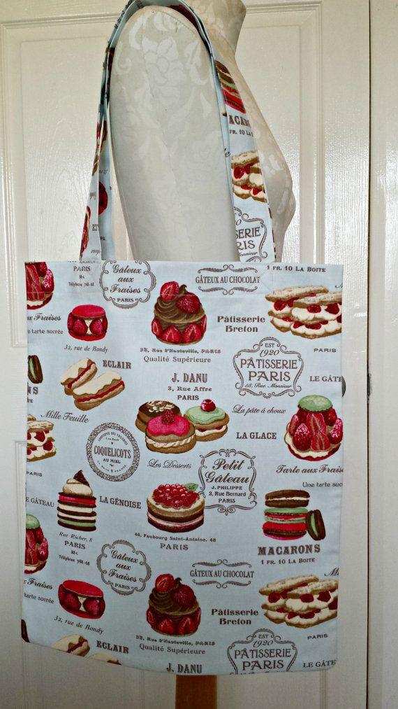 £6.99 Handmade Shopping Bag Patisserie cakes by KelwayCraftsYorkshir
