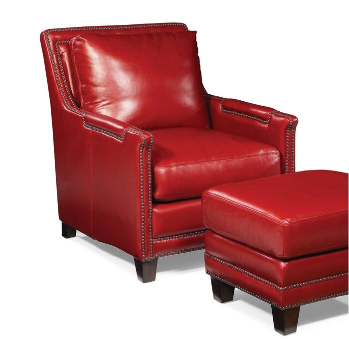 Edward 31 Wide Tufted Genuine Leather Top Grain Leather Club Chair Red Leather Chair Leather Chair Club Chairs Leather club chair and ottoman