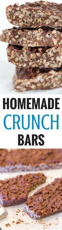 These homemade Crunch bars are SO easy and only require TWO ingredients!