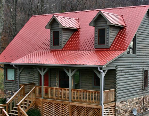 Green Roofs And Great Savings Red Roof House Metal Roof Houses Log Cabin Exterior