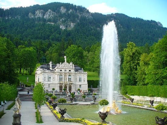 "Located in Baveria (Bayern), King Ludwig II's Linderhof castle was modeled on French Sun-King Louis XIV's Versailles. It features a grotto that is a tribute to Wagner's ""Tannhäuser."" Ludwig was a massive Wagner fan and designed many features and rooms in his castles in tribute to the composer's operas."