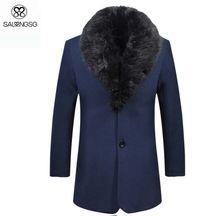 Hombres estilo largo chaqueta de lana Turn-dowm cuello de piel hombre abrigo con revestimiento de lana de invierno hombre a prueba de viento más el tamaño XXL negro