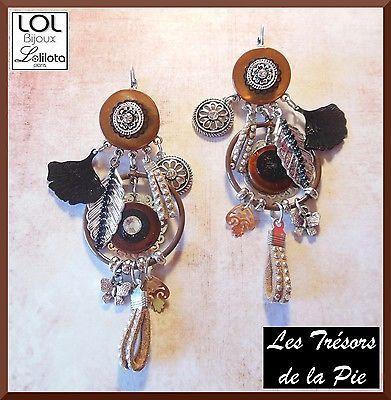 Boucles d'oreilles LOL BIJOUX - MARAM nacres & strass - Marron - Lolilota 2016
