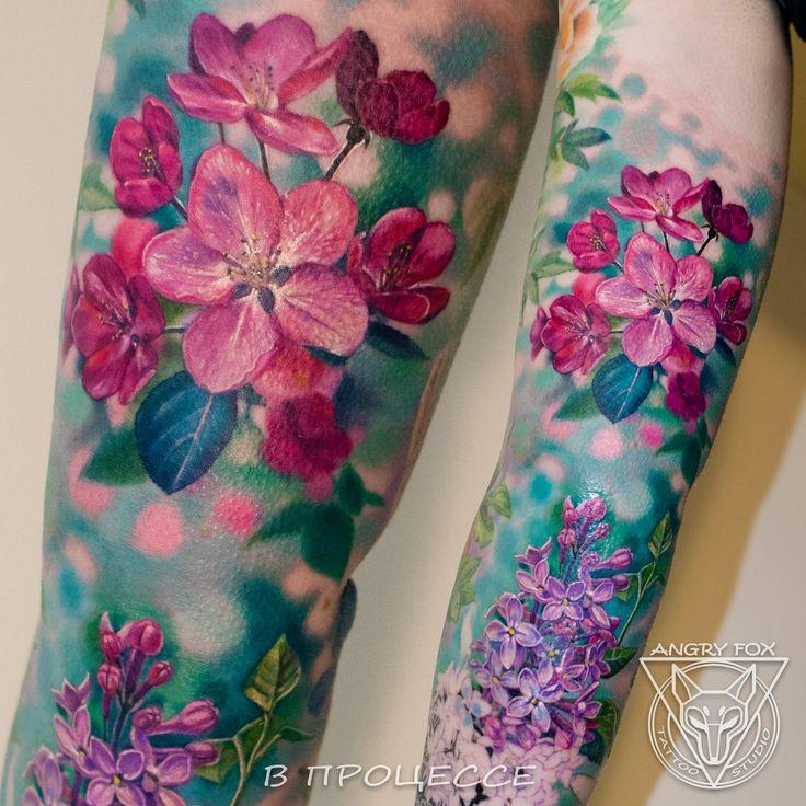 Цветы - сирень и яблоня, тату на руке у девушки (Flowers - siren, apple tree, sakura) by Angry Fox Tattoo