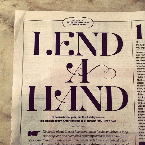 #writing font type typography newspaper Lend a hand