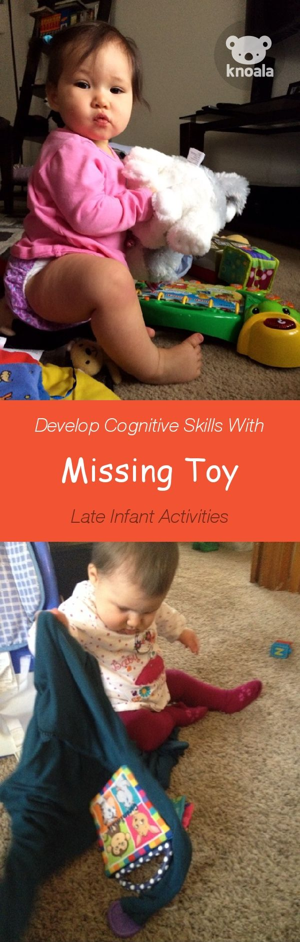 #Knoala Late Infant activity 'Missing Toy' helps little ones develop Cognitive and Sensory skills in just 5 mins. Click for simple instructions & 1000s more fun, easy, no-prep activities for kids ages 0-5! #activities #DIY