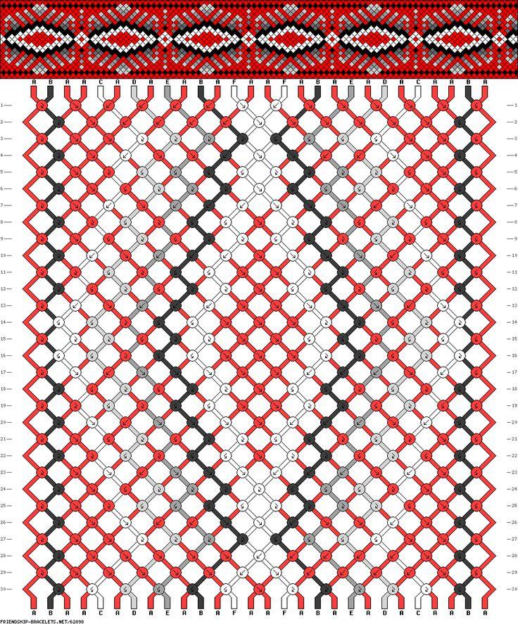 28 strings, 30 rows, 6 colors friendship bracelet pattern